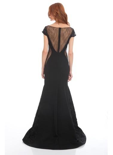 Pierre Cardin Dantel Detaylı Abiye Elbise Siyah